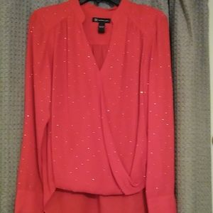 INC red sparkling blouse. NWOT